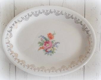 Vintage China Platter Edwin M. Knowles Serving Platter Shabby Cottage Wedding Decor Home & Living Dining Serving