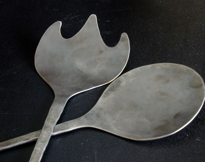 Salad Serving Set Hand Forged Stainless Steel Wedding, Mother's Day, Housewarming, Anniversary,  Birthday, Great for Large Bowls & Picnics