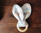 Southwestern Baby Teether Toy, Wanderer Fabric, Symbols, Dusty Blues, Sandstone, Orange, Boho Nomadic, Gender Neutral Baby Toy, Wood Teether