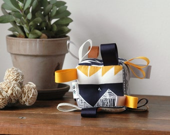 Aztec  Tipi Baby Block, Ribbons and Rattle, Sensory Baby Toy, Grey and Gold Yellow, Navy Blue, Tepees, Plus Sign Crosses, Southwest Nursery