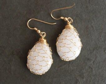 A Mermaid's Lovesong. 14 kt Gold Fill Fishnet White Quartz Earrings