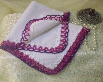 Crochet Handkerchief, Hanky, Purple, Fuschia, Lace, Lacy, Bridesmaids, Personalized, Monogrammed, Custom Embroidered, Bridal Party Gift