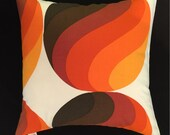 Mid-Century Colorful Orbs Danish Modern Pillow Cover - 1960s 70s Vintage Fabric - Orange, Brown, White