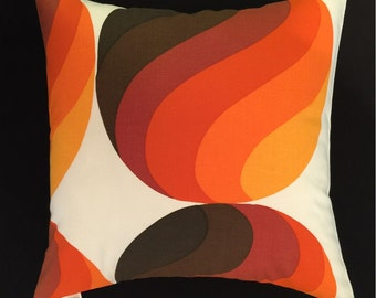 Mid-Century Danish Modern Pillow Cover - 1960s 70s Vintage Fabric - READY TO SHIP - Colorful Orbs - Orange, Brown, White