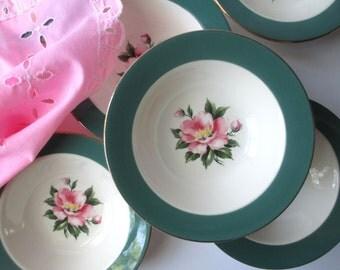 Vintage Century Service Empire Green Floral Dessert Bowls Set of Six