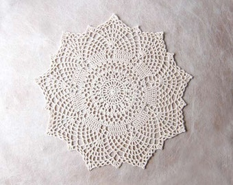 Art Deco Crochet Doily, Ecru Lace, Gatsby Wedding Decor, New