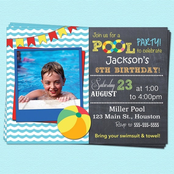 Pool Party Invitation Swimming Birthday By CupcakeDream On