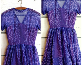 1950s/1960s Purple Leopard Jonathan Logan Short Sleeve Dress
