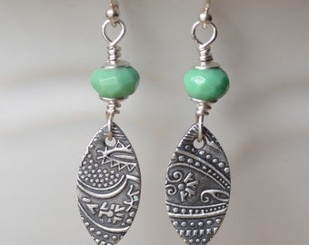 SALE Marquis Fine Silver Earrings Paisley Textured Marquis Charms Sterling Silver Gemstone Jewelry Chrysoprase Gemstones