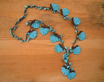 crochet rose necklace, turquoise brown