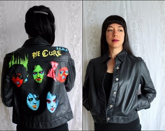 THE CURE // Hand-Painted  // Black Leather Jacket
