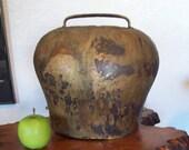 Ceremonial Swiss Cow Bell, hand forged, hammered, metal large Treichel, Switzerland