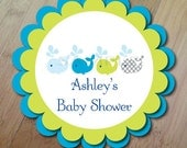 Whales and Ocean, Baby Shower Door Sign or Birthday Party Decoration, Professionally Printed