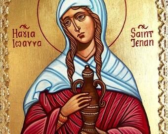 St Joanna The Myrrhbearer, Original Handpainted Icon, Orthodox style icon, original - 8 by 6 inches
