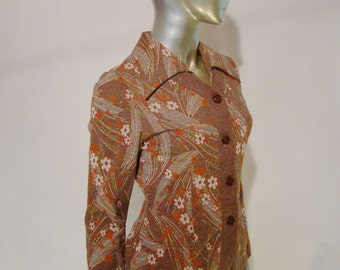 Vintage 1970's Faux Two Piece Dress by Zeinee -Cardigan Front Vintage Sweater Knit Dress - Chocolate Floral -1970's Women's Business Wear