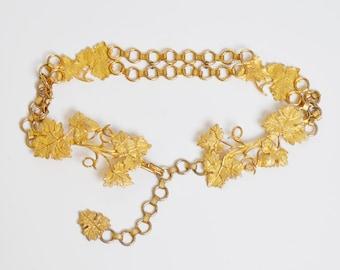 Vintage 60s 70s Judith Leiber Grape Vine BELT / Gold Chain Link Belt, s m