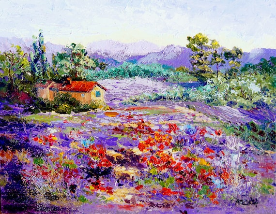 Original moderne impressionnistes paysage peinture par for Peinture couleur lavande