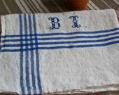 Reserved for Mari Antique Linen Tea Towel. French Dishcloth. Monogram BI. Rustic Farmhouse Kitchen Blue Ticking Towel. Kitchen Decor
