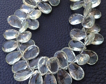 Brand New, 1/2 Strand,Natural GREEN AMETHYST Concave Cut Pear Shape Briolettes, 12-13mm ,Finest Item