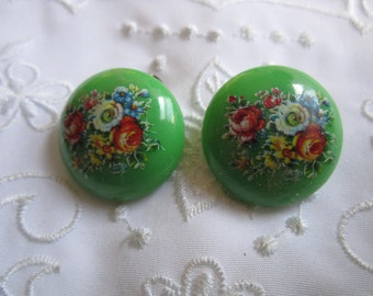 Vintage Green Clip On Earrings with Floral Design