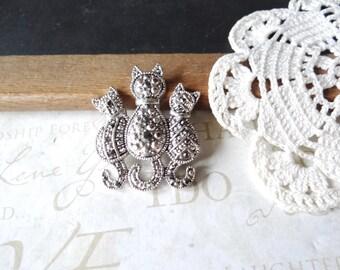 PURRfect trio vintage cat antiqued rhinestone brooch pin in silver B2 | cat lover | black diamond