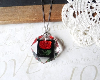 ROSES are red romantic vintage lucite rose pendant necklace B18 | wedding day | valentines day | vintage | romantic | gift | diamond