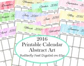 SALE - Printable Calendar 2016, Abstract Design, Letter Size