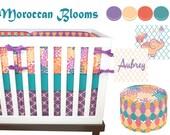 Moroccan Blooms Crib Bedding, Baby Bedding, Purple, Turquoise, Coral, Orange, Peach, Trellis, Tiles, Floral, Moroccan Nursery