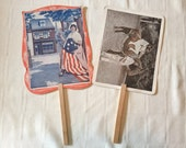 Two Vintage Advertising Hand Fans 1920's