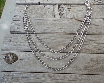 Triple wallet chain, chrome plated