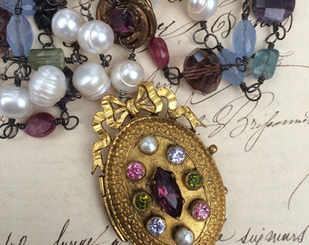 FANCIFUL - Superb Triple Strand French Paste Locket Necklace with Pearls and Assorted Semi-Precious Stones