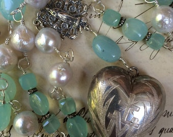 HEAVENLY - Terrific Rosary-Style Necklace with Peruvian Chalcedony, Pearls and Antique French Silver Ex Voto
