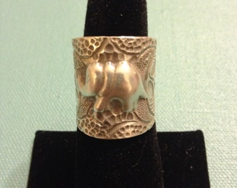 Leaf Texture Elephant Ring - Sterling Silver
