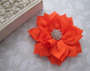 Chiffon Poinsettia . clippie . girls hair accessory . rhinestone button . orange
