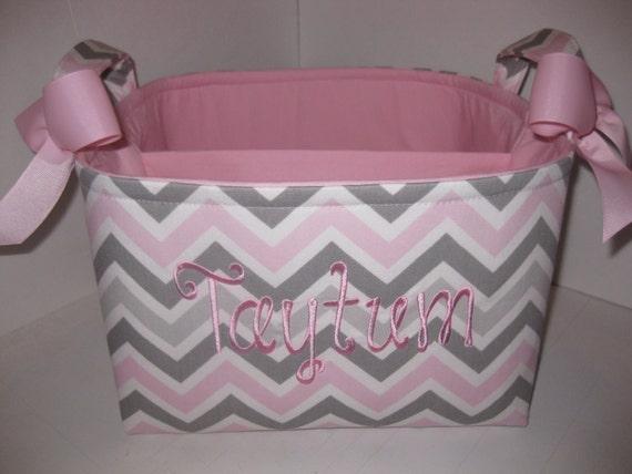 Large Diaper Caddy / Organizer Bin / Pink Grey Zig Zag - Personalization Available