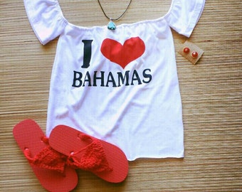 "One of a kind soft white Jersey cotton ""I Love Bahamas"" graphic bohemian off the shoulder tube top with built in flounce sleeves"