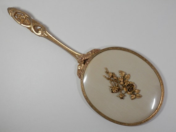 Matson Ormolu Oval Vanity Hand Held Mirror 24k Gold Plated