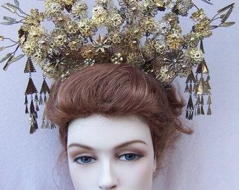Vintage Indonesian Sumatra Headdress Headpiece Tiara Crown Hair Accessory Hair Comb Hair Pin Tribal Fusion (AAZ)
