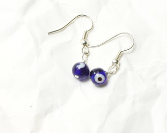 Tiny Blue Glass Evil Eye Beaded Earrings, All Seeing