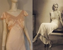 Dream A Little Dream of Moi - 1930s Peachy Pink Silk Night Gown w/Mauve Pink Lace Work on Trim - 2