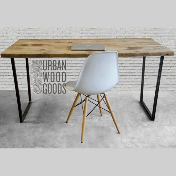Modern wood desk with reclaimed top in choice of sizes or