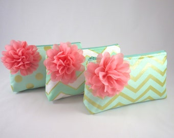 Zipper Clutch with Flower Brooch | Cosmetic or Makeup Bag | Mint Green, Aqua & Metallic Gold | Design Your Own Custom Bridesmaid Gifts
