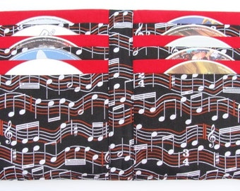 DVD Case CD Holder Video Game Storage Disc Case Book made with Music Notes Fabric - Hold's 10 Disc's