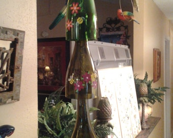 SPRING SPECIAL SALE wine bottle bumblebee wind chime