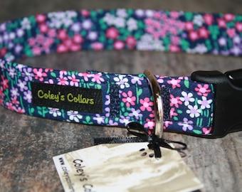 "Navy and Purple Floral Dog Collar ""The Joy"" Custom Dog Collar"