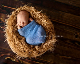 Caramel Mongolian Faux Fur Piece, Newborn Props, Basket Staffer, Brown Fur, Baby Boy photo prop, RTS, Basket Stuffer, Filler, Baby Props