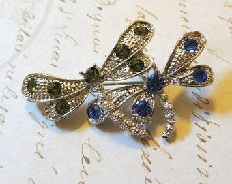 Dragonfly Rhinestone Vintage Brooch Pin Silver Blue Green Vintage Jewelry