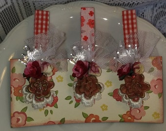Altered Clothespin Princess Crown Trio Reds