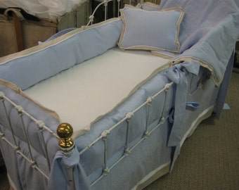 Tailored Crib Bedding in Azure Blue-White-Natural Cotton-Washed Linen Nursery-Bumpers and Crib Skirt-Blanket-Pillow