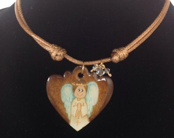 Hand-painted  Guardian angel necklace
